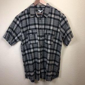 Fashion Nova Mens Short Sleeve Black Flannel